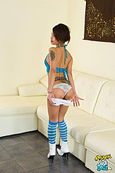 Pulling Shorts Down Revealing Her Panties Wearing High Heels