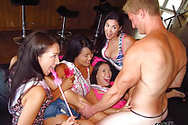 Kalina Ryu and girlfriends fuck stripper at bachelorette party