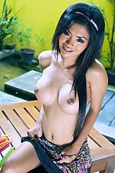 Top Pulled Down Over Her Big Breasts Long Hair