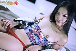 Lying On Bed Bare Small Breasts Thumb In Red Panties