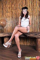 Hands On Her Crossed Legs Wearing Short Dress