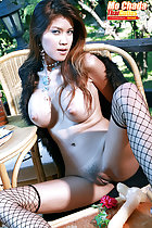 Mo Chada sitting at lunch table shrugging long coat off long hair over her big tits legs spread showing her pussy fishnet stockings