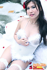 Wearing Lingerie Lying On Rug Wearing Pearl Necklace Fishnet Stockings