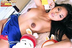 Lying On Her Back Long Hair Tits With Brown Nipples