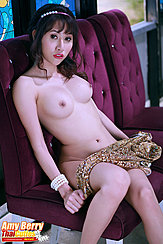 Amy Berry Holding Cheongsam Across Her Thighs Firm Breasts