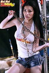 Mei Mei Playing With Metal Chain In Top Wearing Denim Shorts