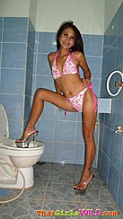 Earn Standing In Bathroom Wearing Bikini High Heels