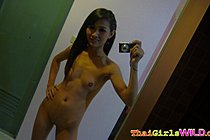 Small tits shaved skinny Peung self shot playing with vegetable