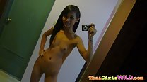 Peung taking self shot picture nude hand on hip long hair small breasts shaved pussy